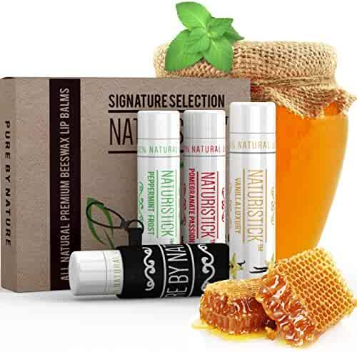 All Natural Lip Balm Gift Set (with Bonus Holder) by Naturistick. Best Beeswax Chapstick for Dry, Chapped Lips with Aloe Vera, Vitamin E, Coconut Oil - for Men, Women and Kids. 4 Flavors. Made in USA.