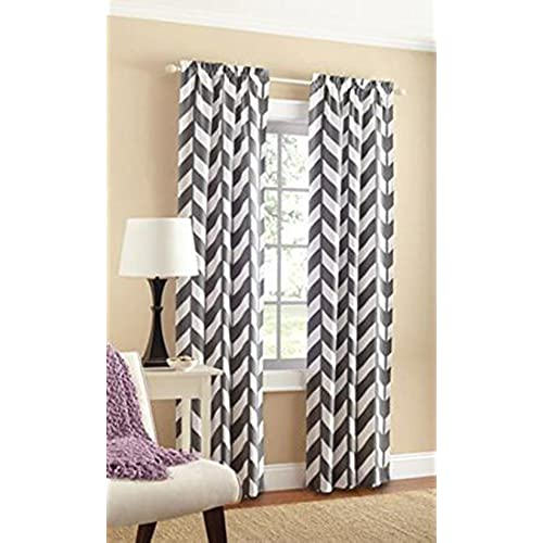 Mainstays Chevron Polyester/Cotton Curtain Panels, Set Of 2, Grey/White, 56  Inch X 84 Inch