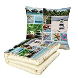 iPrint Quilt Dual-Use Pillow Spa Collage of Spa Composition with Tropical Sandy Beach Ocean Rock Views Relax Rest Image Multifunctional Air-Conditioning Quilt Multicolor