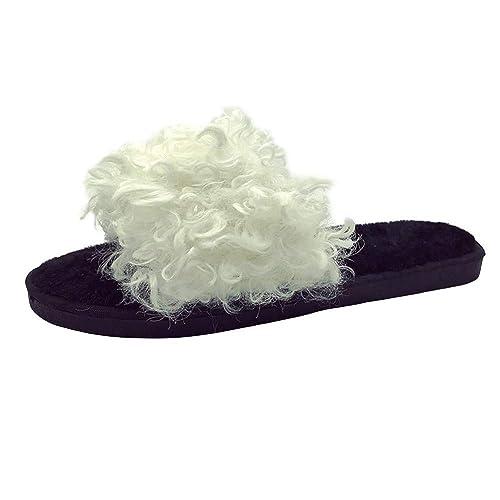 Zapatillas Casa Mujer Cerradas,Modaworl Zapatillas Planas De Color Liso para Mujer Zapatillas Mullidas Zapatillas De Casa Antideslizantes Sandalias Flip ...