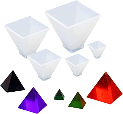JUSTDOLIFE 5PCS Resin Casting Mold DIY Pyramid Shape Silicone Craft Mold Epoxy Casting Mold