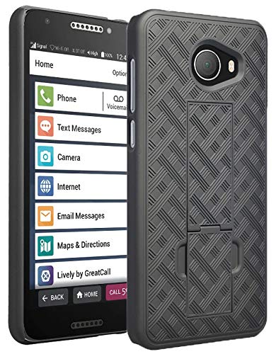 (Jitterbug Smart2 Case, Nakedcellphone [Black Tread] Slim Ribbed Rubberized Hard Shell Cover [with Kickstand] for GreatCall Jitterbug Smart2 Phone (5049SJBS2, Smart-2))