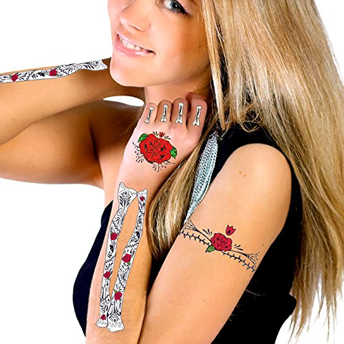 Glitter Red Roses Day of the Dead Hand & Arm Bones Temporary Tattoo Kit (Day Of The Dead Face Tattoo)