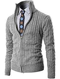 Mens Casual Knitted Cardigan Zip-up with Twisted Pattern