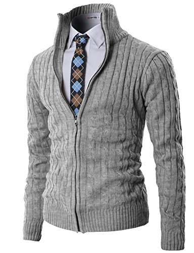 H2H Mens Casual Knitted Cardigan Zip-up with Twisted Pattern - US M (Asia L) - Kmocal017-gray