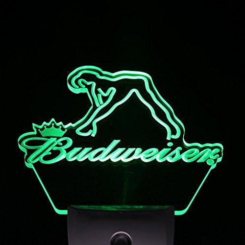 L'amazo Budweiser Exotic Dancer Stripper Beer Home Bar Room Decor Day/Night Sensor Led Night Light Sign (GREEN)
