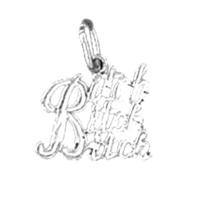 Jewels Obsession Saying Necklace Rhodium-plated 925 Silver Bitch Saying Pendant with 18 Necklace
