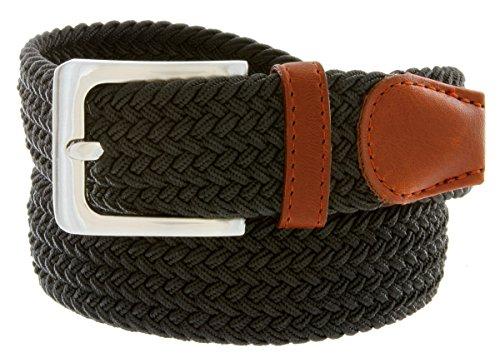Braided Elastic Fabric Woven Stretch Belt Leather Inlay (Black, Medium)