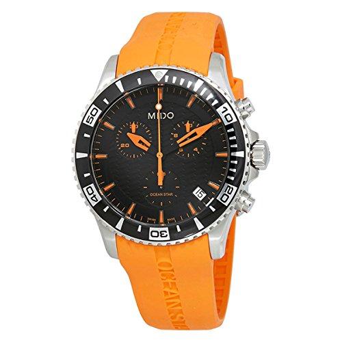 Mido Men's M0114171705190 Ocean Star Analog Quartz Orange Rubber Watch -  M011.417.17.051.90
