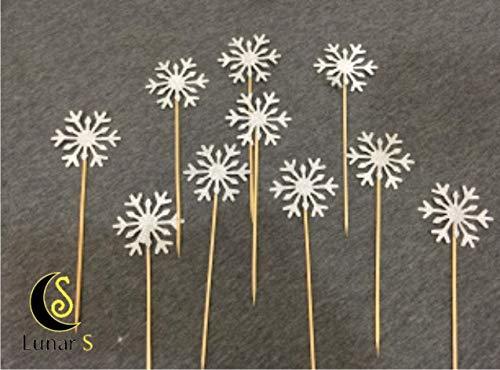 Lunar S 30pc Glitter Snowflake Cupcake Topper