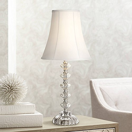Bohemian Cottage Accent Table Lamp Clear Stacked Glass Off White Bell Shade for Living Room Family Bedroom Bedside Office - 360 Lighting (Room Glass Living Lamps Clear Table For)