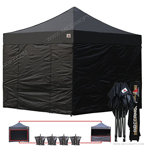 ABCCANOPY Black 10 X 10 Ez Pop up Canopy Tent Commercial Instant Gazebos with 6 Removable Sides and Roller Bag and 4x Weight (Commercial Duty Canopy)
