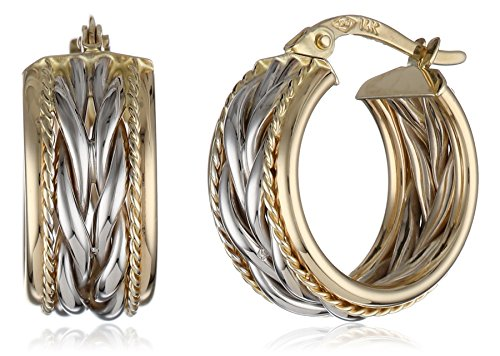 14k Gold Two-Tone Twisted Hoop Earrings by Amazon Collection