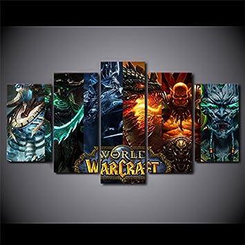 Amazon.com: World Of Warcraft, Canvas Wall Art Framed 5 Panel (Size ...