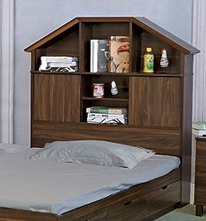 Smart Home Y1501F Dark Walnut Full Size Bookcase Headboard