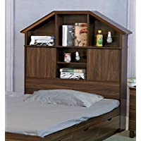 Y1501F Smart Home Dark Walnut Full Size Bookcase Headboard