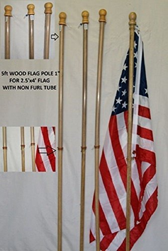 5 Foot Wooden Non Furl Tube Flag Pole Kit w/ 2.5'x4' USA American Flag NO - Bed 2.5'