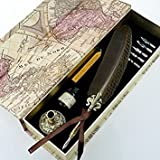 GC QUILL Feather Quill Pen Set- 100% Hand Craft - Golden Calligraphy Pen Holder Hand Carved Dip Pen Stem Best Antique Executive Gift