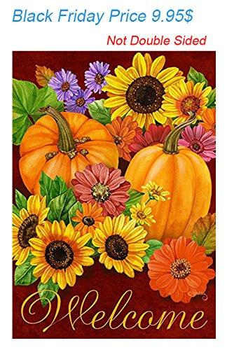 Pumpkin Sunflower Garden Flag, TOWEE 28u0026quot; X 37u0026quot; Polyester Fall  Autumn Harvest Decorative