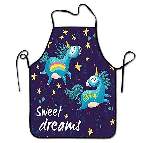Winnee Sweet Dreams Apron Gardening Two Unicorns Flying in Night Sky Childhood Fantasy Fairytale Themed Cartoon Apron Costume -