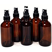 6 New, High Quality, 4 oz Amber Glass Bottles, with Black Fine Mist Sprayers