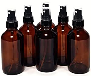 6, Amber, 4 oz Glass Bottles, with Black Fine Mist Sprayers