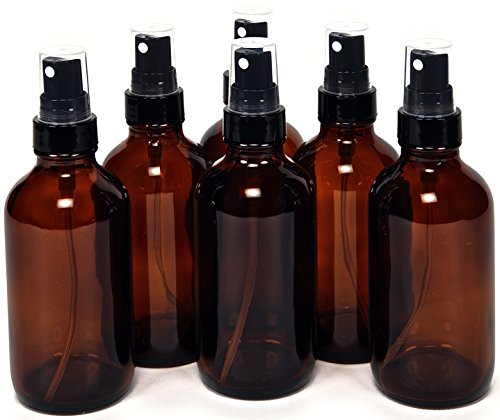 6, Amber, 4 oz Glass Bottles, with Black Fine Mist Sprayers ()