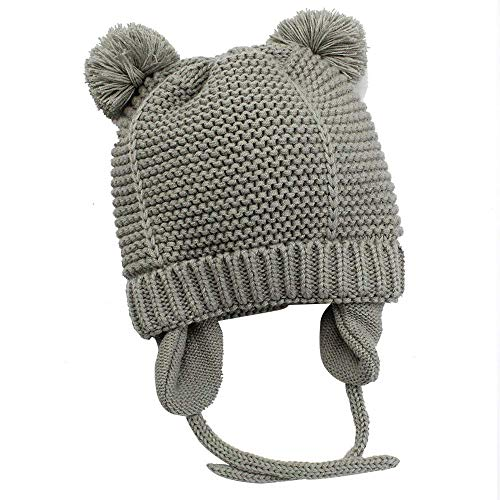 Hisharry Baby Beanie Warm Hat-Infant Boys Hat Cute Bear Knit Toddler Girls Earflap Soft Warm Fall Winter Grey(12-24M)