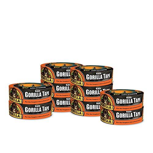 Gorilla Tape, Black Duct Tape, 1.88 x 35 yd, Black, (Pack of 10)