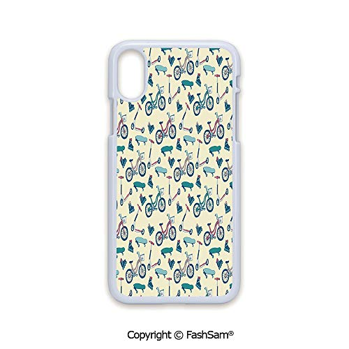 Fashion Printed Phone Case Compatible with iPhone X Black Edge Bicycles Skates Boards Wheeled Physical Activity Equipment Lifestyle Pattern 2D Print Hard Plastic Phone ()