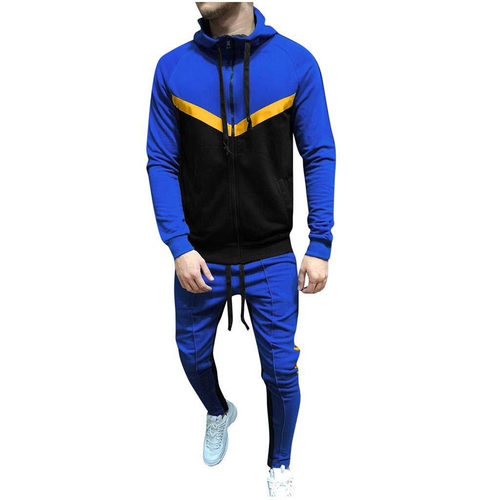Mens 2 Piece Outfits Long Sleeve Fleece Full-Zip Hoodie Sweatshirt Jackets Color Block Tops Drawstring Joggers Set Pockets Casual Workout Tracksuits Activewear by Armfre Two-Piece-Outfit