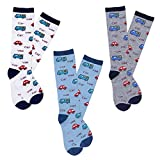 Haley Clothes Boys Novelty Car Pattern Plain Casual Knee High Socks (3 Pairs) (Size M, fits for 4y-6y)