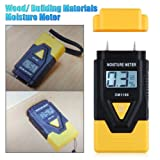 WMicro High Accuracy Mini Portable All-In-1 Wood/Concrete/paper/Building Material And More LCD Display Digital Moisture Meter And Ambient Temperature Gauge(wood range:6% - 42%,Concrete Range:0.2% - 2.0%,Yellow)