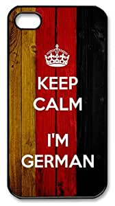 LZHCASE Personalized Protective Case for iPhone 4/4S - Keep Calm I'm German