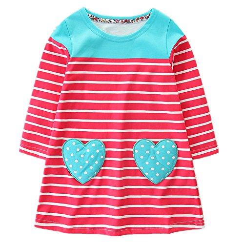Coton Bande Enfant En Bas Âge Hileelang Petite Fille Manches Longues Robes De Poche Occasionnels Pour Legging 3 # Redlovepocket