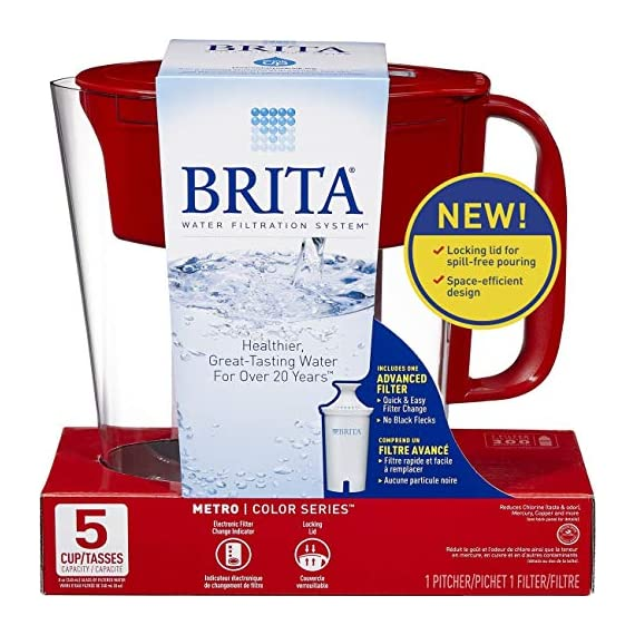 """Brita Small 5 Cup Metro Water Pitcher with Filter - BPA Free 2 SMALL WATER PITCHER: This small, plastic water filtration pitcher is easy to pour and refill. The space efficient pitcher fits perfectly on refrigerator shelves and is great for families. Height 9.8""""; Width 4.45""""; Length/Depth 9.37""""; Weight 1.39 pounds CLEANER AND GREAT TASTING: The BPA free Brita filter reduces chlorine (taste and odor), copper, mercury, zinc and cadmium impurities found in tap water for cleaner great tasting water. *Substances reduced may not be in all users' water FILTER CHANGE REMINDER: For optimum performance, a helpful status indicator on your filtered water pitcher notifies you when your water filter needs to be replaced"""