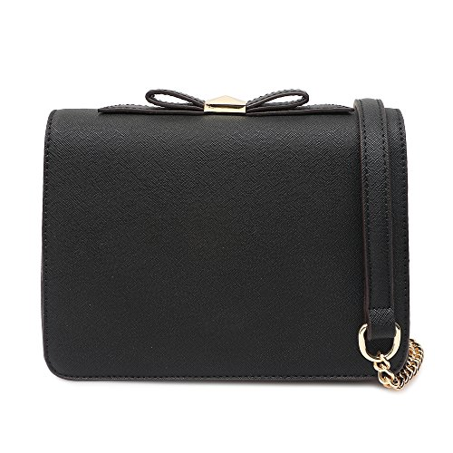 Small Crossbody Purse Wallet Pu Leather Bags with Bowknot Chain Strap for Women Shoulder Handbags (Black)