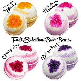 Fruit Selection 4 Bath Bombs, 100mg Hemp Extract, 25mg each, 4 Handmade Bath Bombs, Essential Oils Aromatherapy, Help Reduce Anxiety, Stress and Pain, Perfect Gift