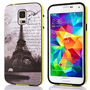 Voguesia Branch Pattern Plastic Hard Cover Camo Triple Hybrid Silicone Case for Samsung Galaxy S5 with Simple High-end Business Detachable Keychain Gift (TIETA)