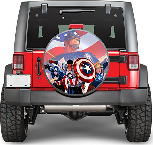 Captain America Sticker Full Color Spare Tire Cover Decal, Sticker Wheel Cover gc2223