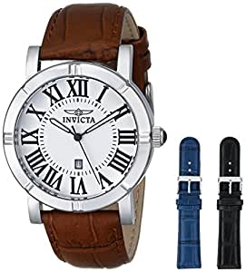 Invicta Men's 13970 Specialty Watch Set Silver Dial Brown Leather Watch with 2 Additional Straps