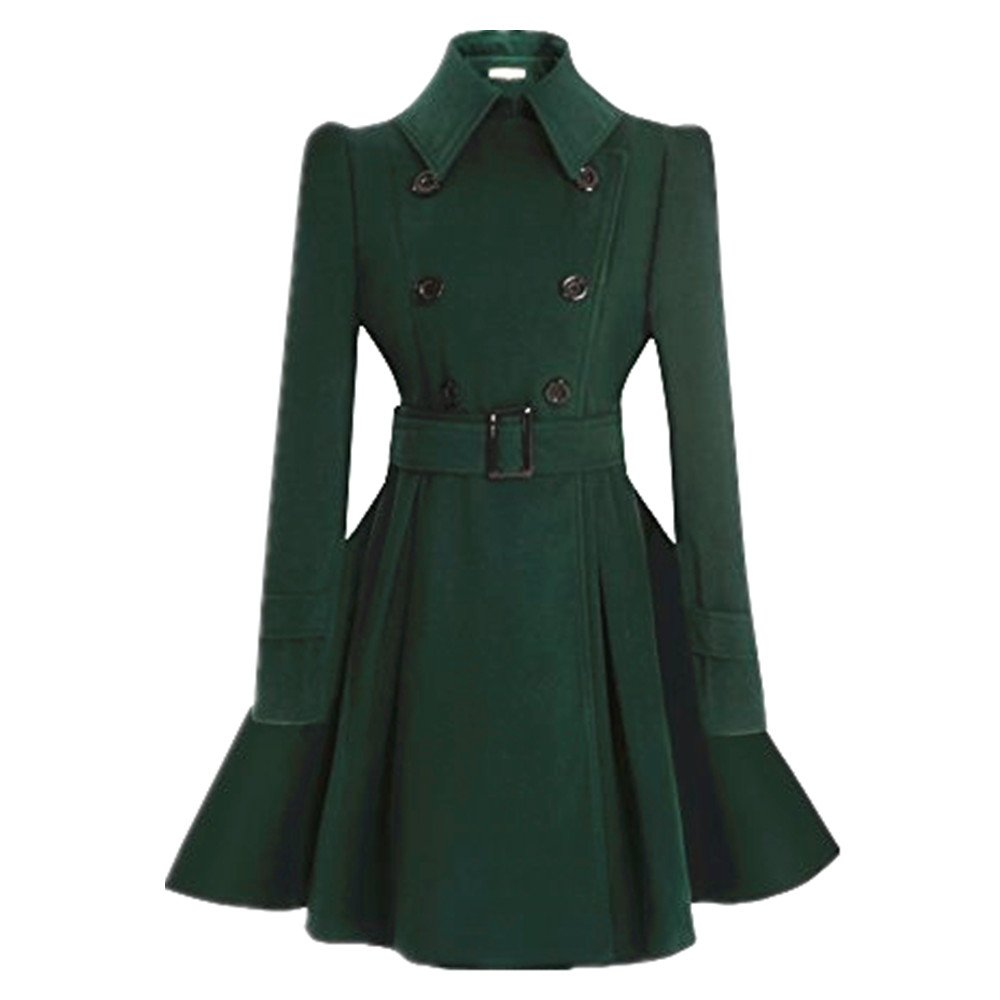ForeMode Women Swing Double Breasted Wool Coat with Belt Buckle Spring Long Sleeve Lapel Dresses Outwear(Green M) by ForeMode