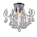 DINGGU™ Modern Mini Size Chrome Chandelier Ceiling Light for Bedroom with Clear Crystal Ball Deco Review
