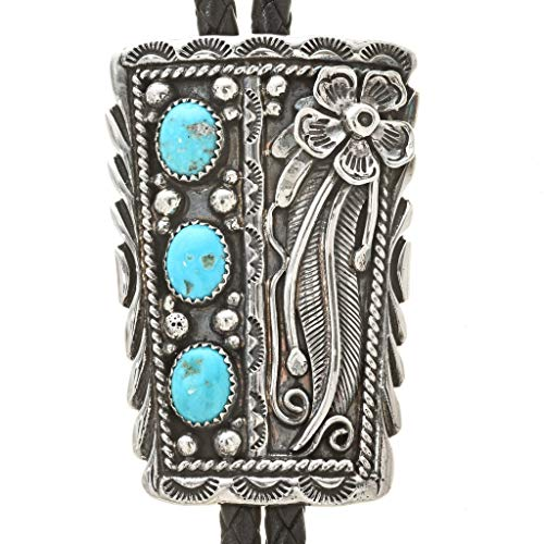 Natural Turquoise Silver Navajo Bolo Tie Sterling Old Pawn Design 3200 ()