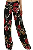 Uptown Apparel Coming Women's Fold Over Waist Wide Leg and Comfy Chic Palazzo Lounge Pant - Made in USA (S, BLACK21)