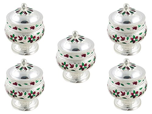GoldGiftIdeas Silver Plated Sindoor Dabbi with Lid, Pooja Items for Home, Ideal Wedding and Housewarming Return Gift with Designer Potli Bags (Pack of 5)