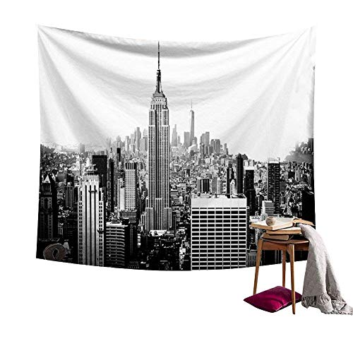Black And White Empire State Building Tapestry Wall Hanging NYC New York Skyline Cityscape Wall Décor Decorative Art Window Curtain Table Cover Bedspread Beach Towel HYC44-4-S