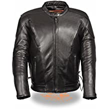 Milwaukee Leather Men's Leather Side Lace Vented Scooter Jacket (Black, 12X)