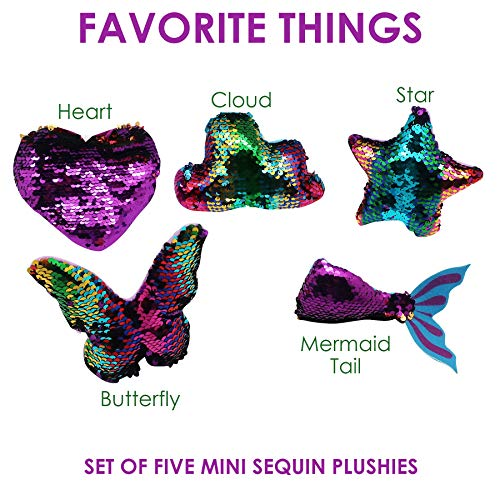Flip Sequin Mini Set-5 Pcs~Toys for Boys & Girls~Color Changing Fabric~Birthday Party Favors for Kids~Heart~Mermaid Tail~Butterfly~Star~Elementary School Treasure Box Prizes (Favorite Things)