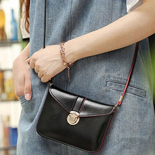 Leather Purse Bag Black Fashion Vibola Handbag Messenger Bag Zero Phone Shoulder Single T6qZTEIxw